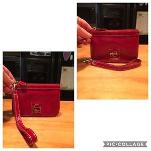 D&B Red Patent Leather Wristlet Clutch